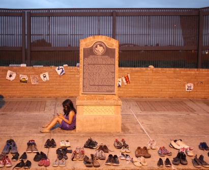 Child at immigrant memorial