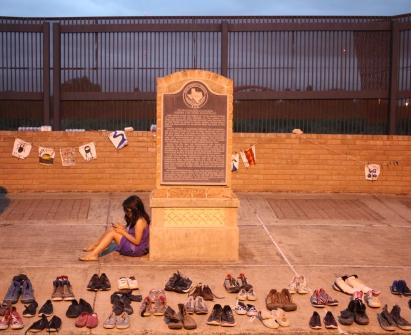 Child at immigrant memorial